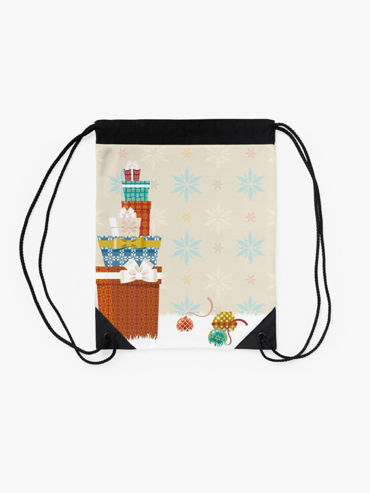Alternate view of Gifts. Christmas time. Drawstring Bag