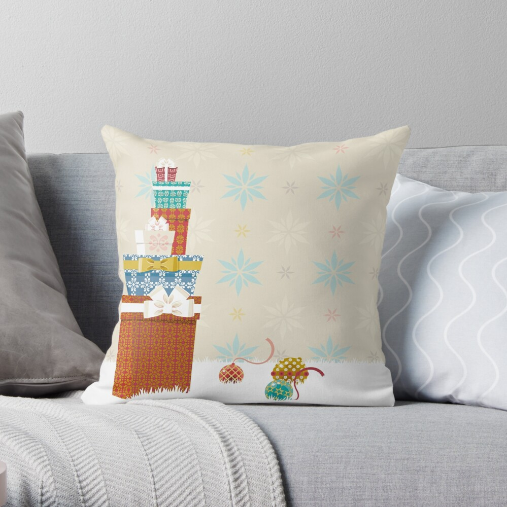Gifts. Christmas time. Throw Pillow