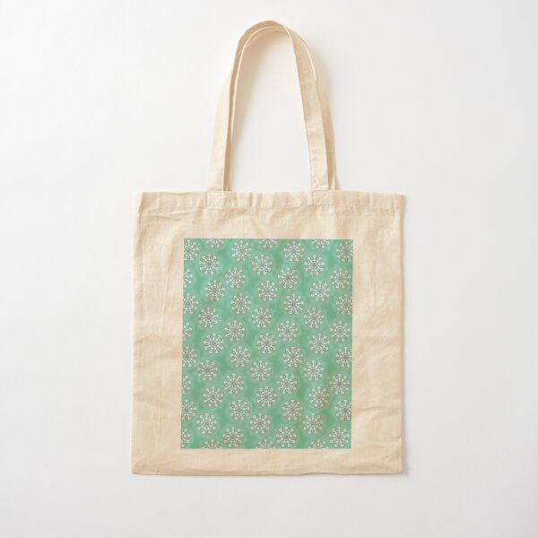 Funky Flowers On Green Cotton Tote Bag