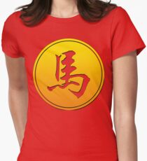 Chinese Zodiac Horse Symbol Women's Fitted T-Shirt
