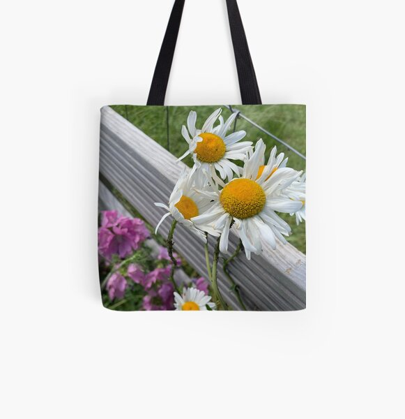 white daisy All Over Print Tote Bag