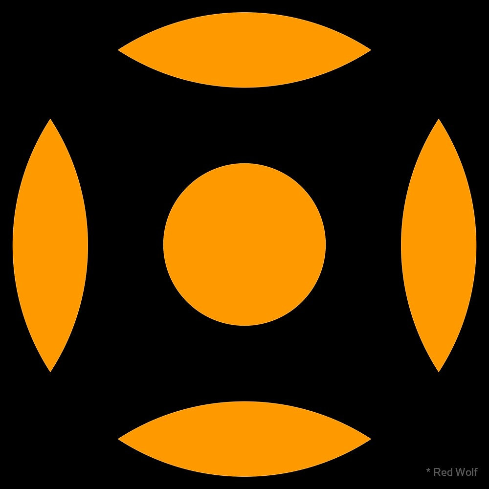 Geometric Pattern: Intersect Circle: Black/Orange by * Red Wolf