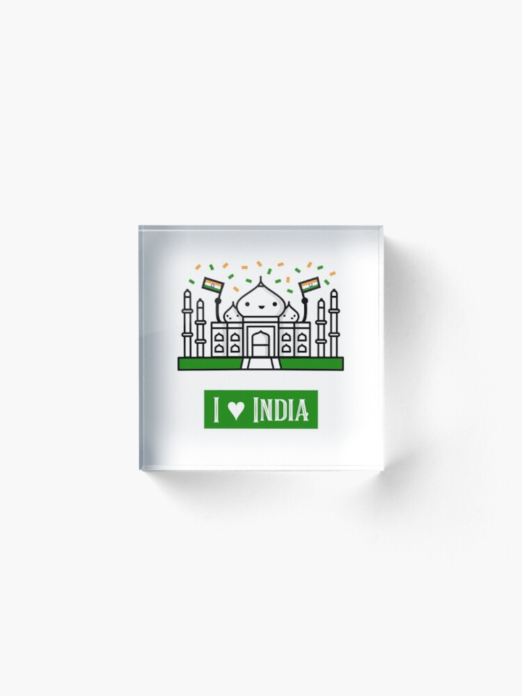 Alternate view of I Love India Acrylic Block