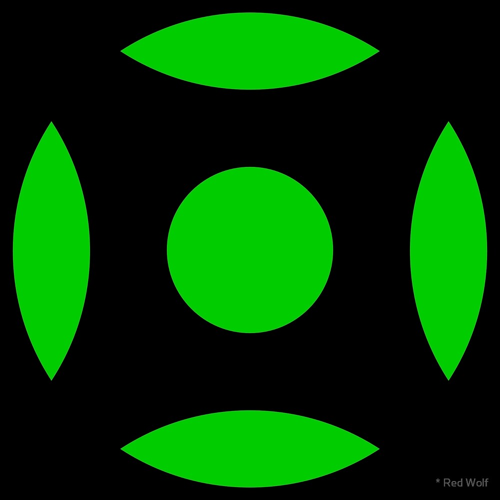 Geometric Pattern: Intersect Circle: Black/Green by * Red Wolf