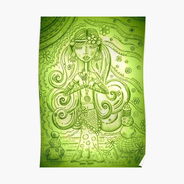 Green Yoga Gypsy – Whimsical Folk Art Girl in Namaste Pose  Poster
