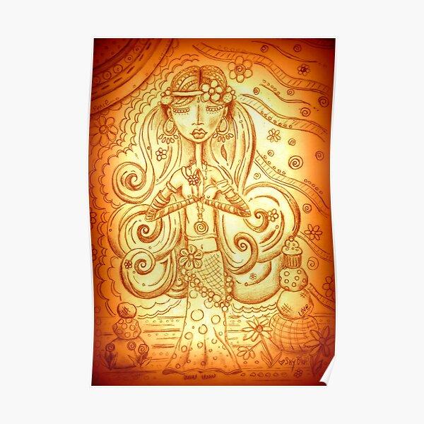 Orange Yoga Gypsy – Whimsical Folk Art Girl in Namaste Pose  Poster