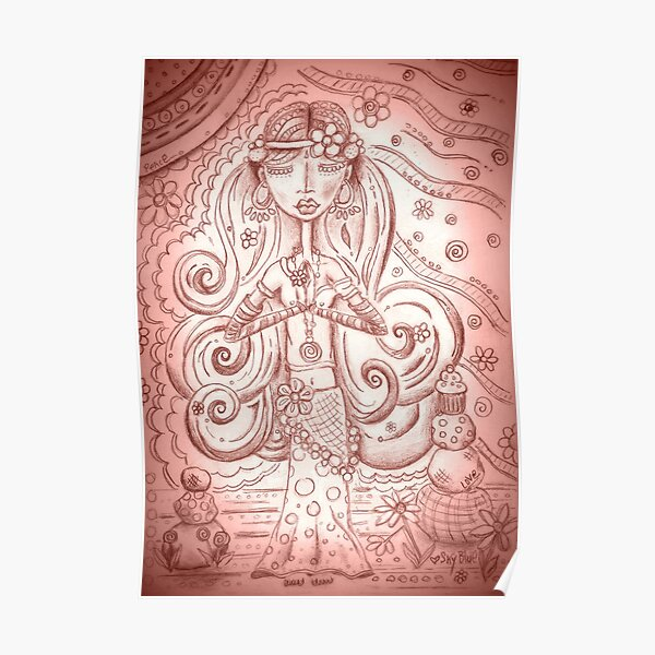 Pale Pink Yoga Gypsy – Whimsical Folk Art Girl in Namaste Pose  Poster
