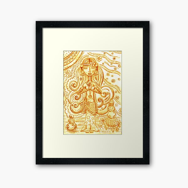 Orange Yoga Gypsy Sketch – Whimsical Folk Art Girl in Namaste Pose Framed Art Print