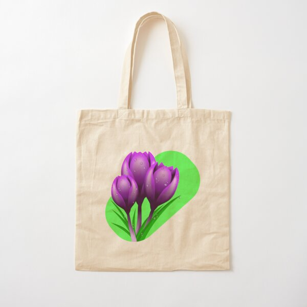 Crocus flowers on green background Cotton Tote Bag