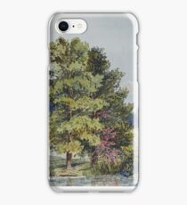19th century watercolour of Little Houghton pond, Northamptonshire iPhone Case/Skin