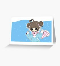 Kawaii Girl in the Snow Greeting Card