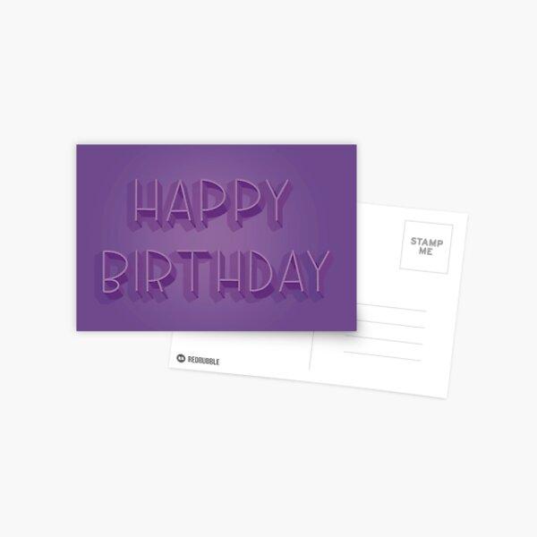 Happy Birthday in Purple Postcard