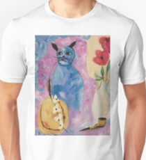 Blue China Cat by Suzanne Marie Leclair Slim Fit T-Shirt