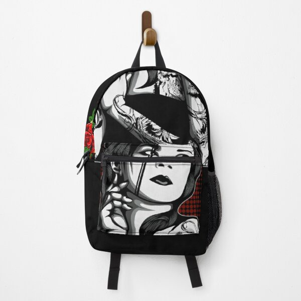 Three Red Rose Golden Triangle Gothic Tattoo Girl With Black Hair Backpack