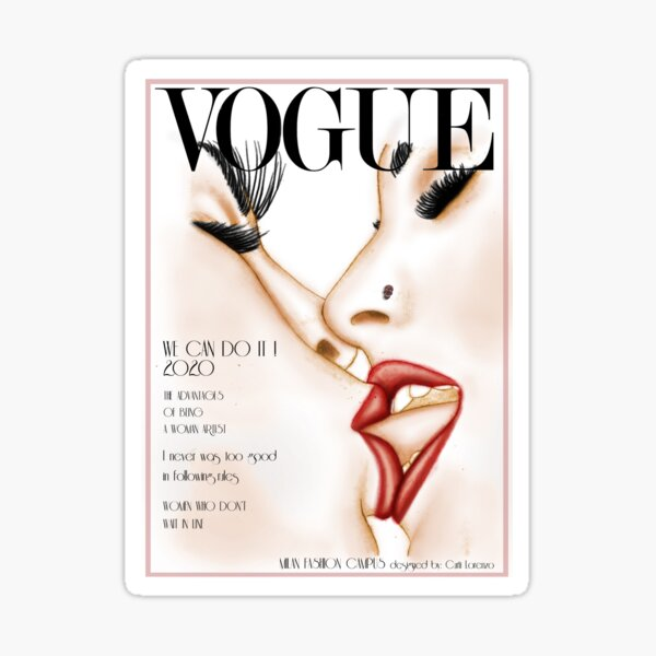 Vogue Cover Kiss - Fashion Illustration by Milan Fashion Campus Sticker