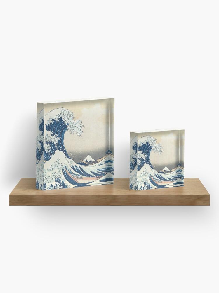 Alternate view of The Great Wave off Kanegawa japanese mask art Acrylic Block