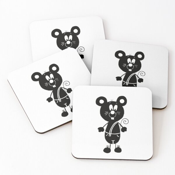 Black and white mouse Coasters (Set of 4)
