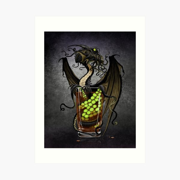 Kraken Storm Dragon Art Print