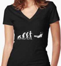 Evolution to Scuba Diver WHITE Women's Fitted V-Neck T-Shirt