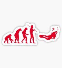 Evolution to Scuba Diver RED Sticker