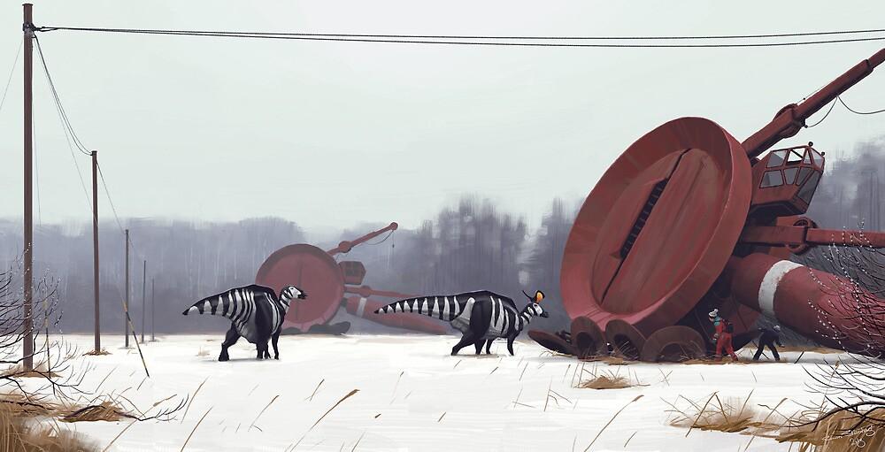 Hadrosaurer vid Markärret, tidig vår. by Simon Stålenhag