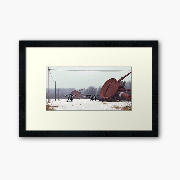 Hadrosaurer vid Markärret, tidig vår. Framed Art Print
