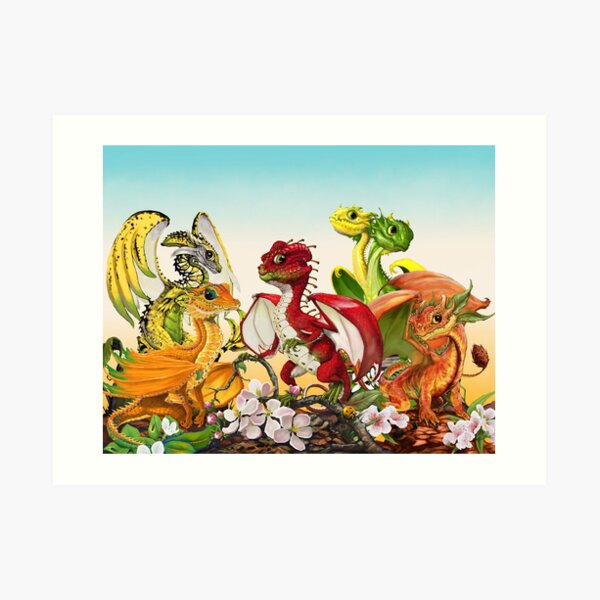 Fruit Melody Dragons apple,orange,banana,peach,lemon/lime Art Print