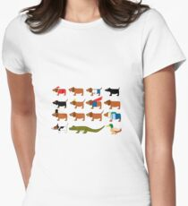 Sneaky Dog and friends Women's Fitted T-Shirt