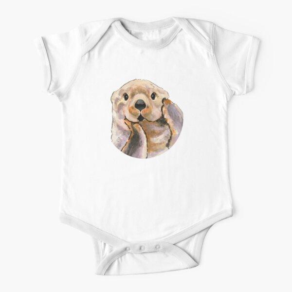 Sea otter (white background) Short Sleeve Baby One-Piece