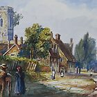 watercolour of Little Houghton, Northamptonshire, 1873 by NorthantsPast