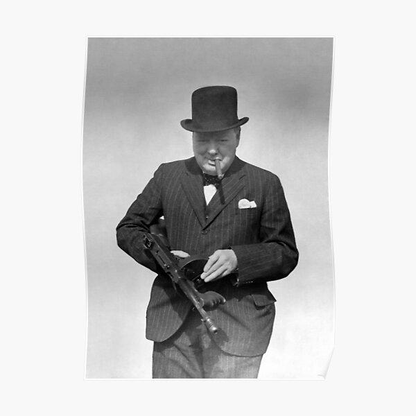 Winston Churchill Inspecting a Tommy Gun - WW2 - 1940 Poster