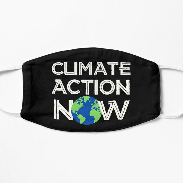 Climate Action Now (weiß, blau, grün) - Streik zur Rettung der Erde und der Umwelt Flache Maske