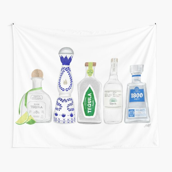 Tequila Bottles Illustration Tapestry