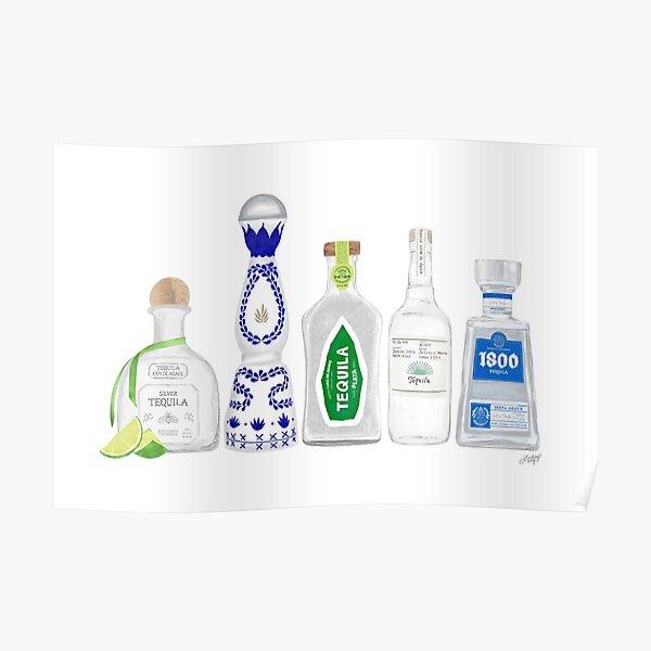 Ilustración de botellas de tequila Póster