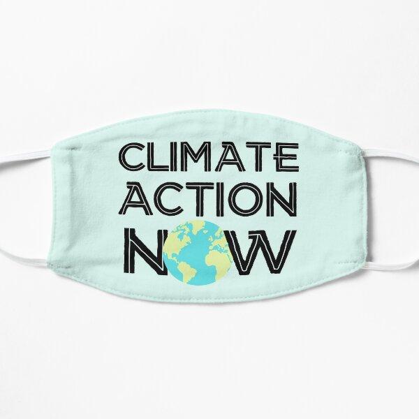 Climate Action Now (schwarz, hellblau und grün) - Streik zur Rettung der Erde und der Umwelt Flache Maske