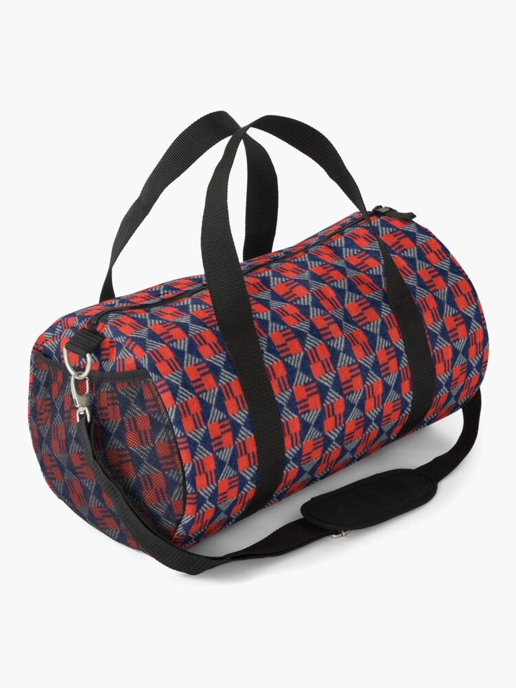 Alternate view of vintage London underground tube seat pattern  Duffle Bag