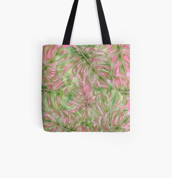 Pink and Green Tropical Pattern All Over Print Tote Bag
