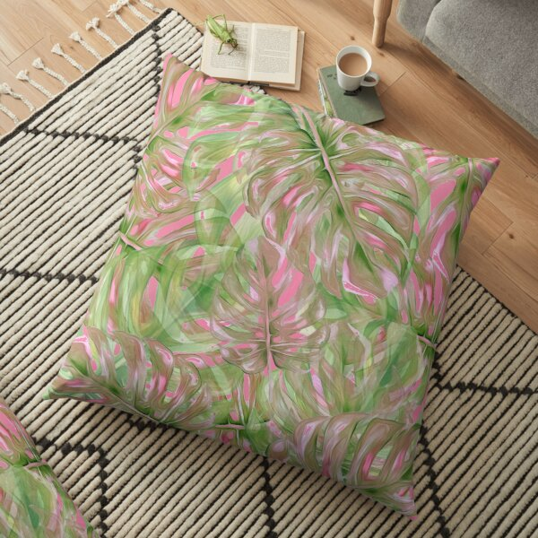 Pink and Green Tropical Pattern Floor Pillow
