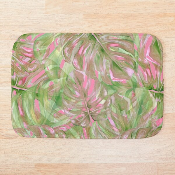 Pink and Green Tropical Pattern Bath Mat