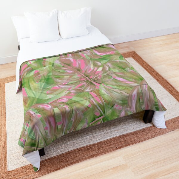 Pink and Green Tropical Pattern Comforter