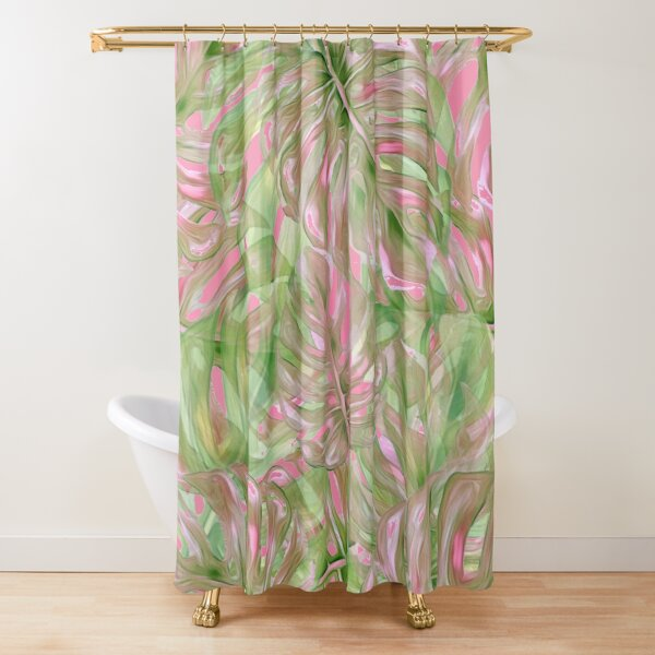 Pink and Green Tropical Pattern Shower Curtain