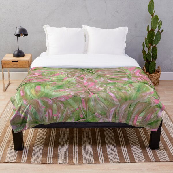 Pink and Green Tropical Pattern Throw Blanket