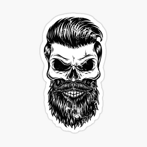 Skull with a Beard Sticker