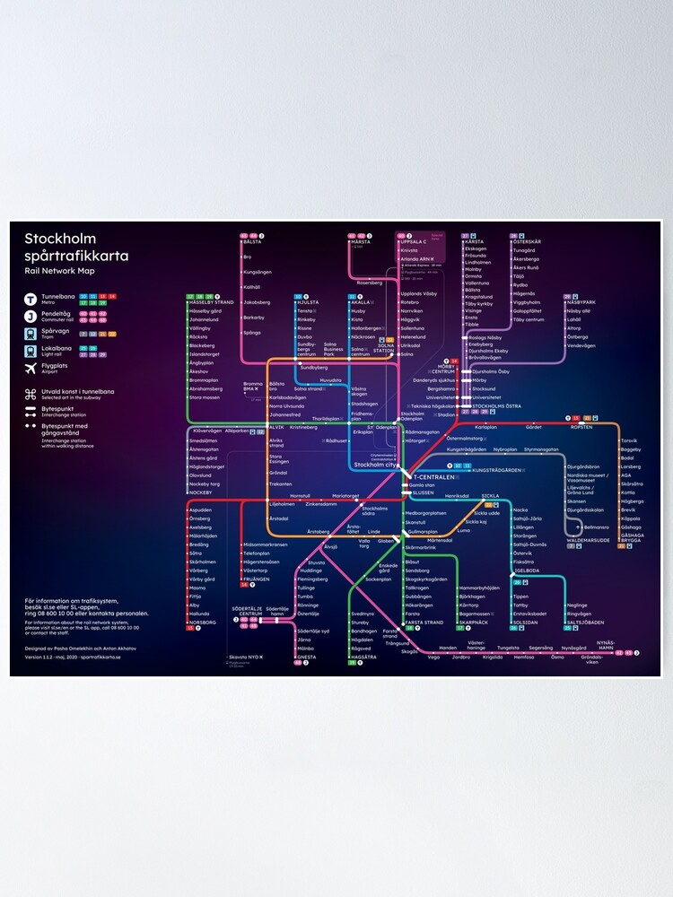 Alternate view of New Stockholm Rail Network Map Poster