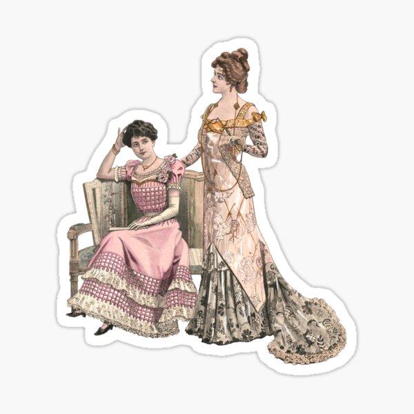 Two edwardian Ladies wearing ballgowns Sticker