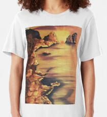 Rocks at Sunset by Suzanne Marie Leclair Slim Fit T-Shirt