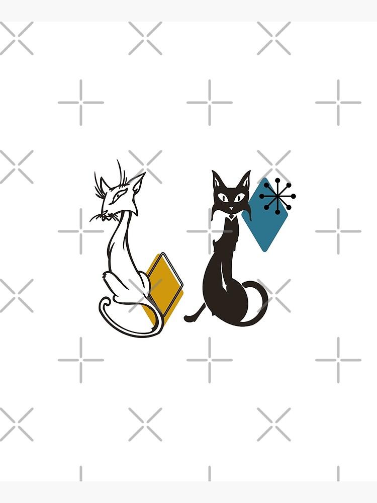Mid Century Retro Cats  by ColorFlowArt