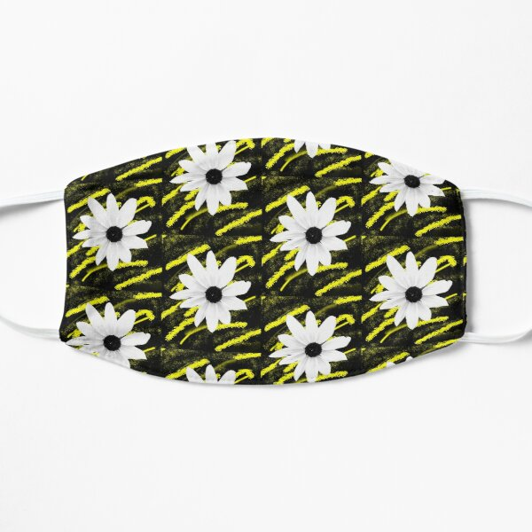 White Daisy Close-up Yellow and Black Floral Photo Design  Mask