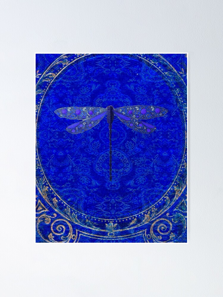Alternate view of Victorian Dragonfly in Blue Poster