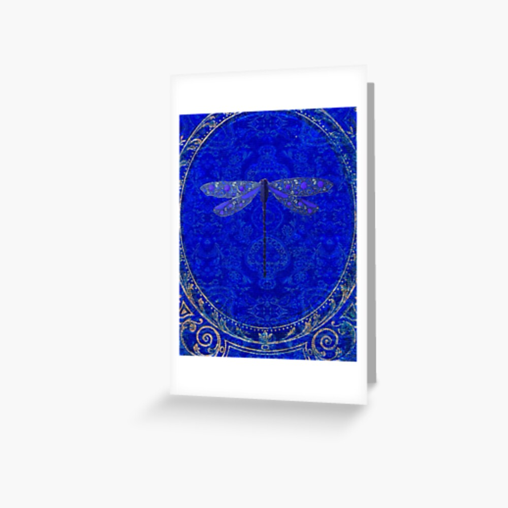 Victorian Dragonfly in Blue Greeting Card